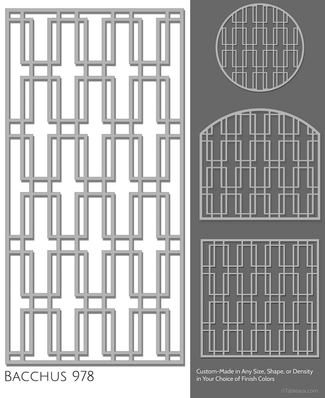 """Tableaux Decorative Grilles Design Pattern """"Bacchus"""""""