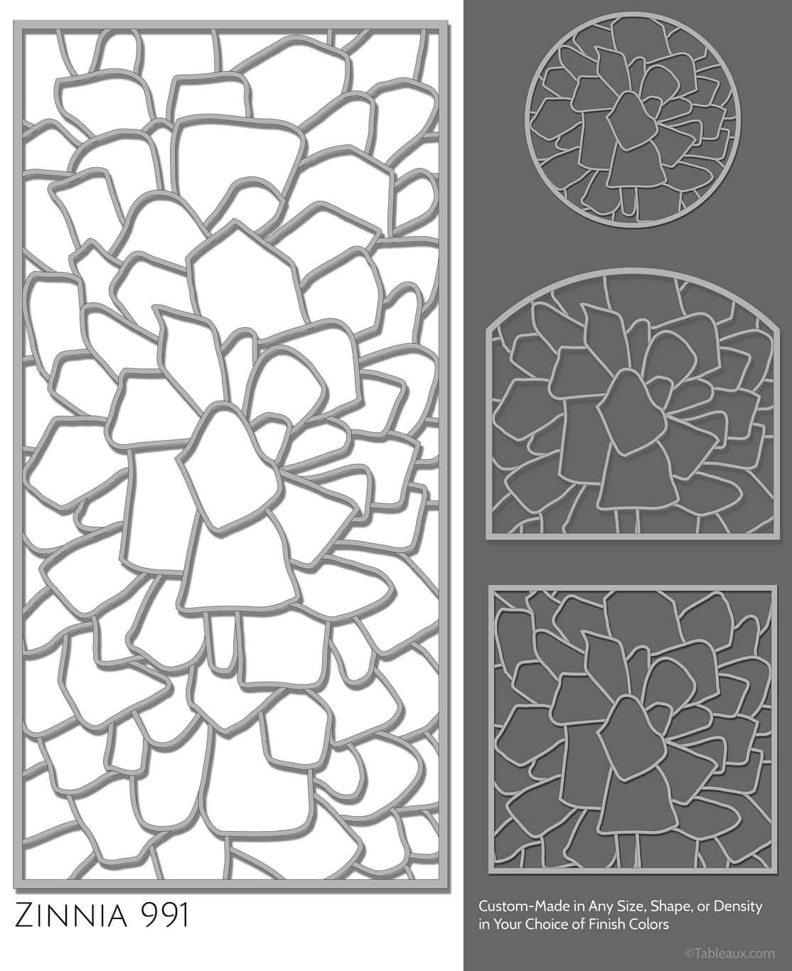 "Tableaux Decorative Grilles Design Pattern ""Zinnia"""