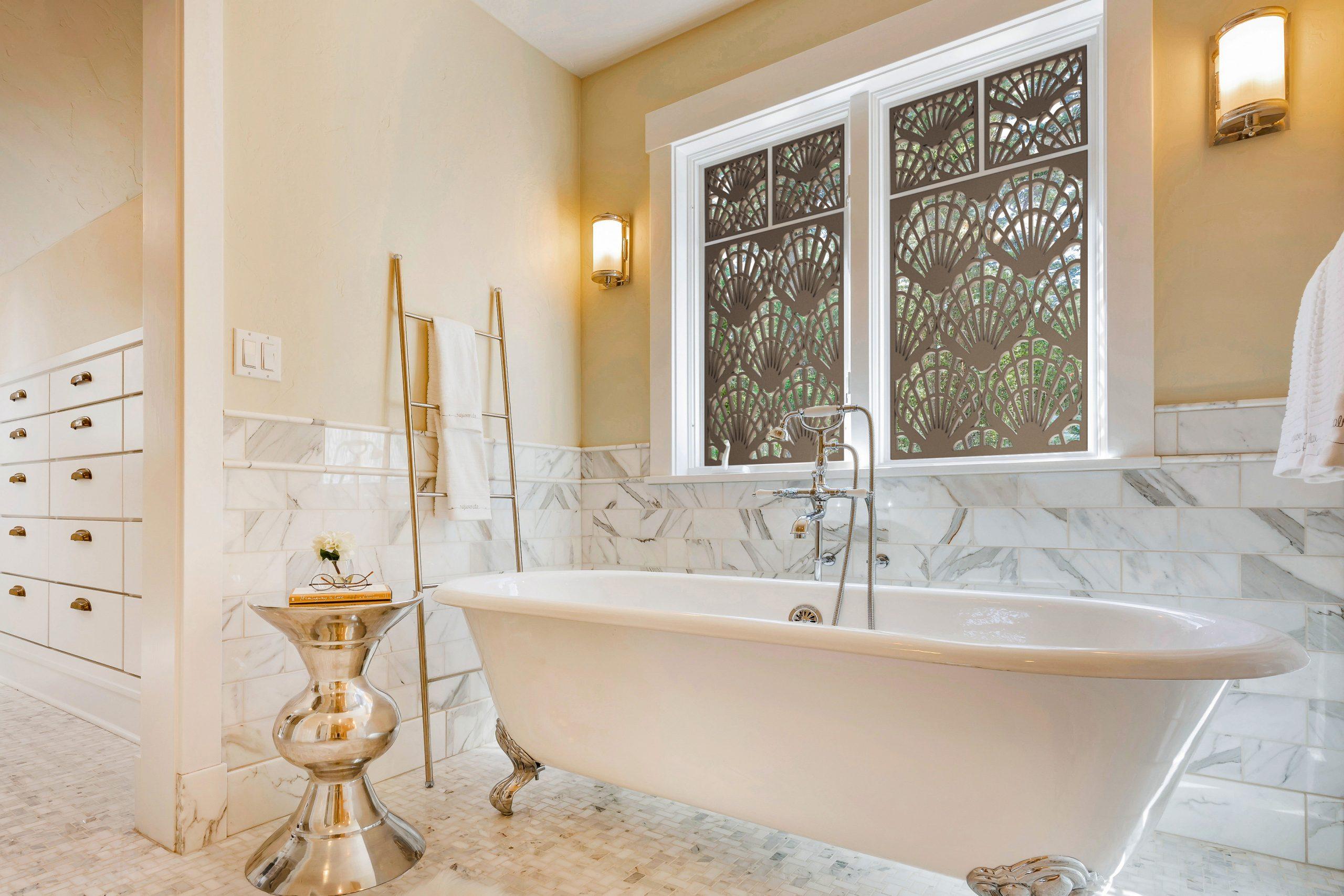 Tableaux Decorative Grilles custom window decor in master bath